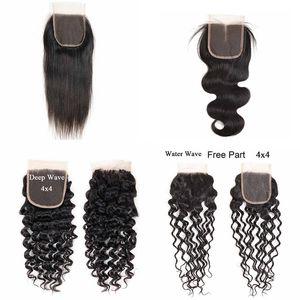 Remy человеческих волос Закрытие Deep Water Wave Бразильские волосы девственницы 4x4 кружева Закрытие 8-20 дюймов прямо Объемная волна кружева Закрытие Natural Black
