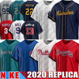 13 Ronald Acuña Jr Jersey 22 Christian Yelich jerseys 3 Bryce Harper Jersey 24 Ken Griffey Jr jerseys 9 Javier Baez 2020 del jersey de béisbol NUEVO