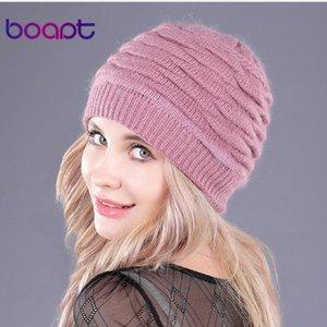 [Boapt] Weiches Kaninchen Doppel Stricken Dickes Bonnet Beaniekappen Fest warme Winter Hüte für Damen S Cap Skullies Beanies weiblich Hut