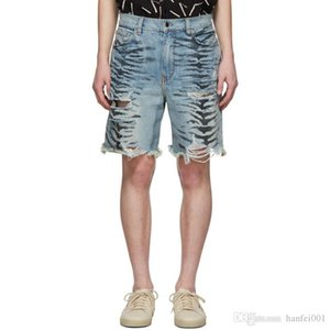 19SS AM1R1 Zebra Pattern Shorts Jeans Hole Casual Fashion Loose Straight Sport Pant Breathable Street Short Jeans Pants HFYMKZ160