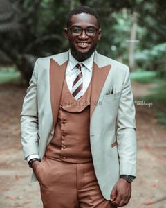 3 Piece Wedding Suits for Men Peaked Lapel One Button Prom Suits Costume Mariage Homme Blazer Jacket Men Tuxedos Groom Suit Coat+Vest+Pant