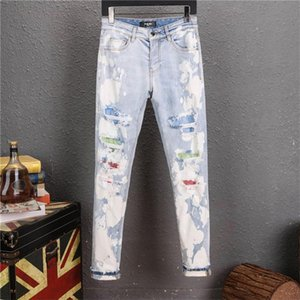 2020ss New Fashion Mens designer Black Jeans luxury mens designer clothing Ripped Slim Pants With Holes givency For Men