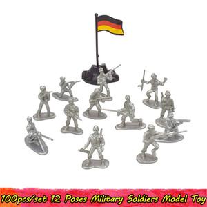 100шт / уп Военные Пластиковые Действие Рисунок Soldiers Игрушечные армии Действие Цифры Модель 12 Позы Коллекция Развивающие игрушки для мальчиков малышей