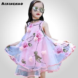 소녀의 꽃을위한 Aixinghao 여름 십대 꽃 비치 Sundress 복장 8 10 12 년 어린이 틴복 J190513