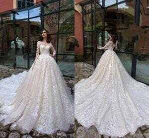 2020 Роскошные полный шнурок с длинными рукавами Свадебные платья бальные Vintage Lace аппликация Saudi Arabic Дубай свадебное платье bc4448