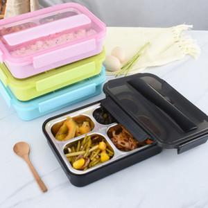 3 그리드 / 4 그리드 Bento 박스 304 스테인레스 스틸 도시락 상자 젓가락으로 쌀 상자 휴대용 음식 컨테이너 CCA11668 4pcs 스푼