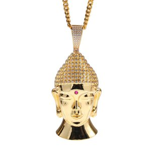 Tibetan Buddhism Religious Jewelry High Polished Buddha Necklace Silver Stainless Steel Sakyamuni Head Pendant Necklace