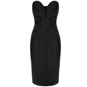 Ocstrade 2020 Seksi Straplez Bandaj Elbise Zarif Kadın Siyah Çizgili Bandajlar Elbise BODYCON Ünlü Akşam Partisi