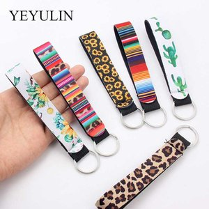 Flower Pattern Cloth Band Keychain Key Chain Lanyard For Women Phone Case Wallet Short Long Ribbon For Bag Charms Car Key Ring