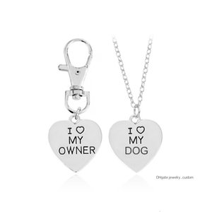 2pcs / set Oro Argento Cuore I Love My Dog Proprietario collana keychain di modo animali Best Friends Gioielli Pet Dog Memorial Collane