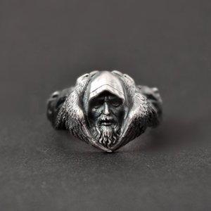 Mythologie nordique Odin Raven Argent Anneaux Mens Viking Wolf Anneau En Acier Inoxydable 316L Scandinave Amulette Bijoux
