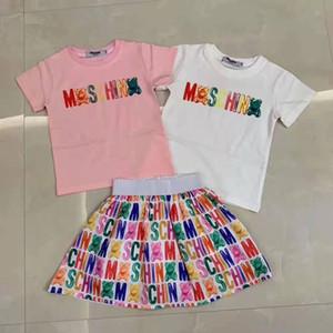 Kind kleidet Großhandel Sommerhemd + Kleid für Babykleid aus 100% Baumwolle Modeschöpferin koreanischen Kind kleiden Sätze 90-150 cm freies Verschiffen