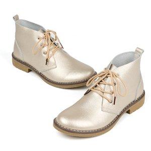 WeiDeng Stivaletti in vera pelle da donna Classic Matin Fashion Flats Inverno Lace Up High Top scarpe impermeabili casuali all'aperto
