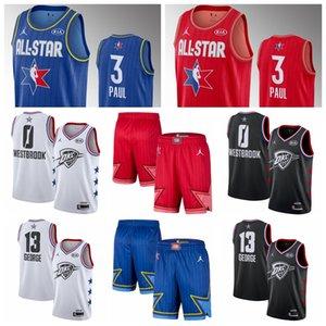 Chris Paul OklahomaCityThunderMen 2020 All-Star Game Swingman Finished Basketball Jersey Blue Red