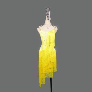 Latin Dance Dress Tassel Vestidos Feminino Adulto Infantil Vestido Dance Competition Outfit amarelo fluorescente Ballroom Fringe Skirt