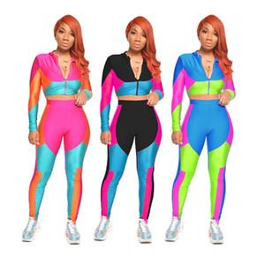 2020 Novo Estilo Casual Suit Hot Selling Color Block Printing Sports Two-Piece Set Europeu e roupas femininas americano