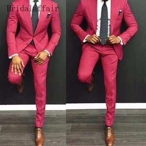 Bridalaffair Tailor Hot Pink Trajes para hombre Traje casual Hombres Slim Fit Boda con esmoquin de novio de novia (chaqueta + pantalones) 2 piezas