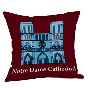 1 pc Notre Dame Cathédrale Imprimer Simple Lin Coussin Cover Creative Mixte Canapé Coussin Cover Home Decoration 45x45 cm L617