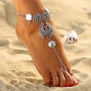 Mulheres Bohemian Flor Boho Cadeia tornozeleiras indiana Jóias Praia Pé Jóias Sandals Barefoot Tornozelo Botas