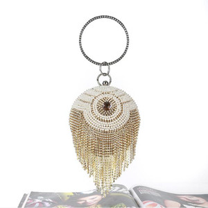 2019 New Gold Rhinestones Bridal Hand Bags Clutches Ball Crossbody Evening Bags Sparkly Crystal Pearls Chain Party Wristlets