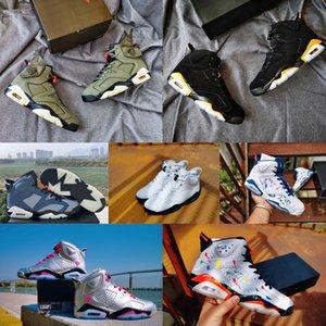 2020 مع صندوق الجديدة 6 6S فاخرة أحذية المصممين العلامة التجارية AJ أحذية كرة السلة للرجال الأسود الأخضر للجيش