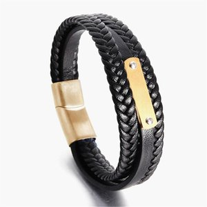 New 3 Layers Steel & Gold Punk Style Design Genuine Leather Bracelet for Men Steel Magnetic Button Birthday Gift Male Bracelets