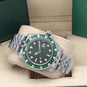 Новый Дата Sub серебро Case 116610LV-97200 116610 Автоматическая Мужские часы Зеленый циферблат зеленый ромб ободок стальной браслет Часы Часы