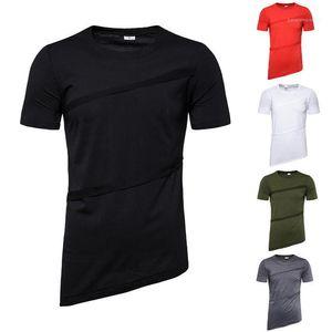 Summer Designer Tshirts Solid Color Panelled Crew Neck Tees Males Short Sleeve Casual T shirt Mens Irregular