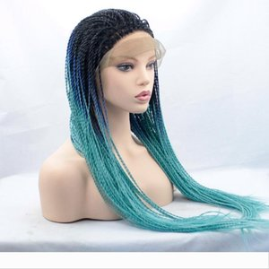 Full Braided Lace Front Wigs Twist Havana Braid Wigs 3 Tones Black to Blue Ombre Hair Heat Resistant Synthetic Wigs