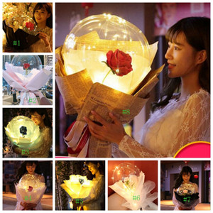 8styles Led Rose Balloon trasparente Rose BOBO sfera del fiore della Rosa Palloncini bouquet con regalo di giorno GGA3188 Light Wedding Decoration San Valentino