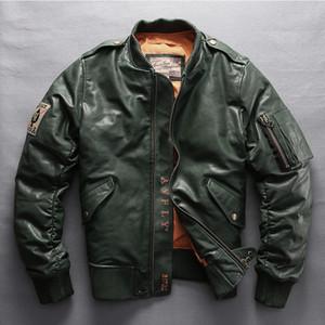 marca Avirex los hombres de la chaqueta de cuero genuino destacan el pato de cuello de piel de oveja de los hombres abrigo de invierno abajo jakcet béisbol 7XL