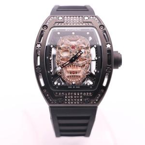 Stylisme Boyu-heng diamant squelette Hommes silicone montres en or crâne tête Dial Quartz Batterie 43MM Montre Transparent