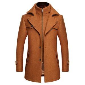 2020 Erkek Butik Kalınlaştırıcı Yün Coat İş Casual Uzun Ceket Sıcak Katı Renk Fermuar Coat tutun