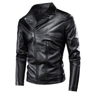 HTLB Мужчины Панк Стиль Vintage Rock Рулон вскользь кожаные куртки пальто мужчин осень Дизайн мотоцикла Байкер Rivet Кожа PU куртки T200117