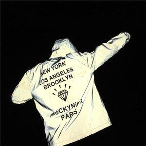 Hombres chaqueta reflectante 3M Diamond imprimir cartas New York Brooklyn con capucha ocasionales flojas abrigos chaquetas rompevientos