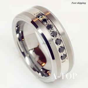 Lujo mejor anillo de tungsteno Cz hombres mujeres banda de boda cepillado tamaño 6-13 envío gratis J190716