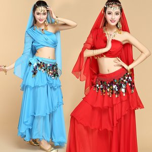 rJqUV Belly dance exercise Indian dance stage Stage sports suit sportswear sportswear costume big skirt oblique shoulder exercise suit femal