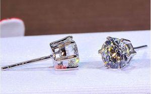 4 CT sólido 925 aniversario de bodas de plata joyería del pendiente SONA Moissanite Diamante S compromiso banda de moda de las mujeres envío de la gota