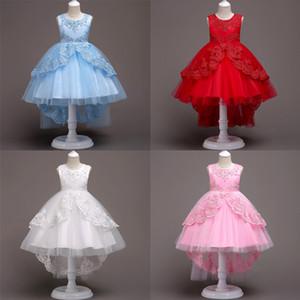아기 여자 공주 드레스 아기 Skitr 꼬리 복장 여자 버블 스커트 거즈 레이스 라운드 넥 민소매