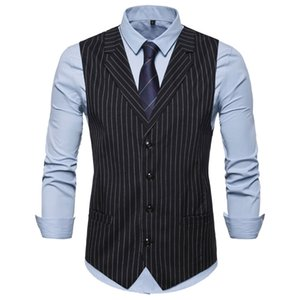 In the autumn of 2019 the new leisure fashion suit collar stripe vest men big yards British wind single-breasted ma3 jia3