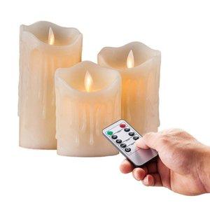 набор 3 Мерцание беспламенной Pillar LED свеча с дистанционным управлением таймера Moving Dancing плавится край Свадебный Xmas Party-янтарный T200108