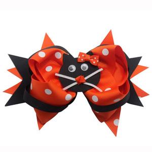 4 poquitos las pinzas de Gato de la historieta Arcos Dot Bowknot para el cabello cintas Grosgrain arcos de pelo de cola de caballo para los regalos para niños niñas accesorios para el cabello de Navidad de Halloween