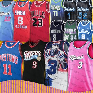 Allen 3 Iverson Jersey Dwyane 3 Wade Luka Isiah Thomas 11 23 32 Michael Shaquille Neal Tracy 1 McGrady Doncic Ray Allen 34 bull