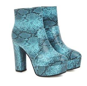 Hot Vente- Violet Serpent Grain épais Talons femme cheville bottillons Designer Shoes Jaune Beige Bleu Venez avec la boîte