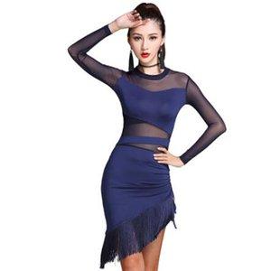 2019 Ladies Women Latin Dance Dress Nero Navy Stage Costumi Nappa Salsa Cha Cha / Rumba / Samba Esegui abbigliamento fitness