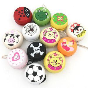 Смешайте оптом 6 шт Cute Animal Prints Деревянные игрушки Божья коровка Дети Yo-Yo Творческий Дети Йойо Шаровые