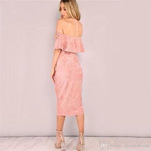 Les nouvelles femmes Robes de soirée élégante soirée club robes dos nu Midi Rose Faux Suede Off The Dress asymétrique à volants pour les femmes