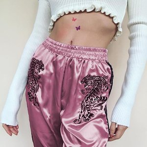 Weekeep 드래곤 자수 중국 스타일의 패션 바지 여성 높은 허리 사이드 스트라이프 Pantalon 팜므 캐주얼 느슨한 바지 바닥
