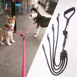 Guinzagli staccabili per cani multipli Guinzaglio per cani di grossa taglia Intrecciati Corda di nylon Guinzaglio per corde 2-4 cani