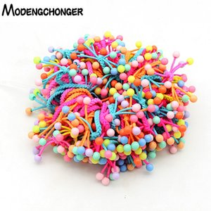 10PCS Lot Lovely Small Beads Hair Ties Hand-knitted Knotted Elastic Hair Band Bow Ponytail Rope For Kids Hair Accessories